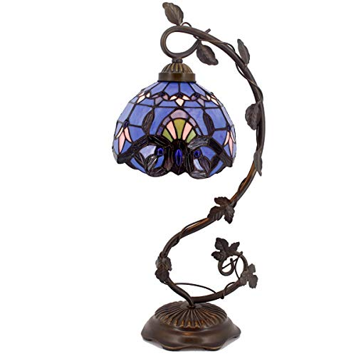 (Tiffany Desk Lamp Lavender Stained Glass Table Light Blue Purple Baroque Style W8 H22 Inch for Living Room Bedroom Dresser Bookcase Coffee Table Beside Reading Set S003C WERFACTORY)