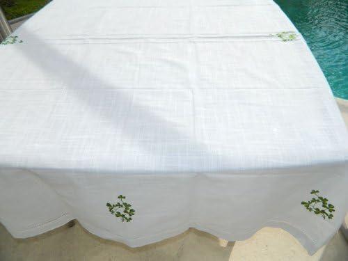 36 x 36 Charles Gallen Irish Linen Look Tablecloth Embroidered Shamrock Design