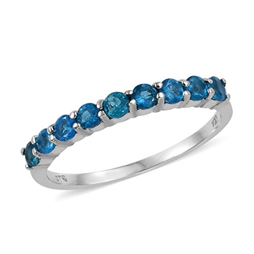 Statement Ring 925 Sterling Silver Platinum Plated Round Neon Apatite Gift Jewelry for Women Size 7 Cttw 0.7 ()
