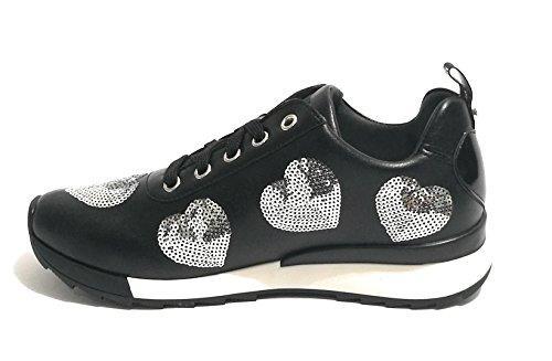 Moschino Women's power25 Love Vitello Scarpad 000 Sint nero Basse Sneakers Nere qAdwwpx