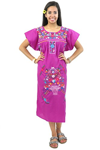 - Mexican Dress Puebla Hand Embroidered (Electric Purple, Small)