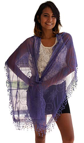 (Cindy and Wendy Lightweight Soft Leaf Lace Fringes Scarf shawl for Women)