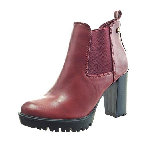 Sopily - Zapatillas de Moda Botines chelsea boots zapatillas de plataforma Tobillo mujer Talón Tacón ancho alto 9 CM - Rojo