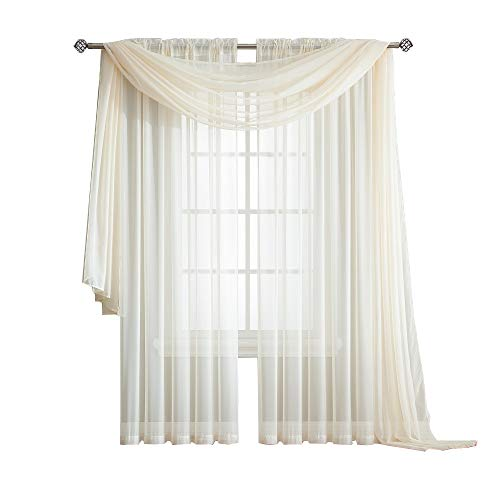 Warm Home Designs Standard Length Ivory Beige Sheer Window Scarf. Valance Scarves are 56 X 144 Inches in Size. Great As Window Treatment, Bed Canopy Or for Decorative Project. Color: Beige 144