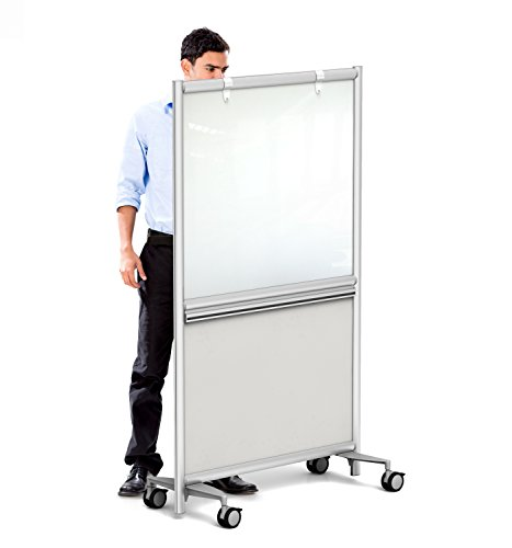 Mobile CLEAR GLASS Whiteboard- with Accessory Rail, Ships Assembled (WHITE-37x62) by Merge Works