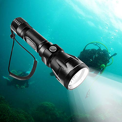 TURN RAISE Scuba Diving Light, Diving Flashlight - 1200 Lumen XM-L2 100M Waterproof Underwater Torch, Bright LED Submarine Safety Light for Underwater Activities & Outdoor Activities(Without Battery)