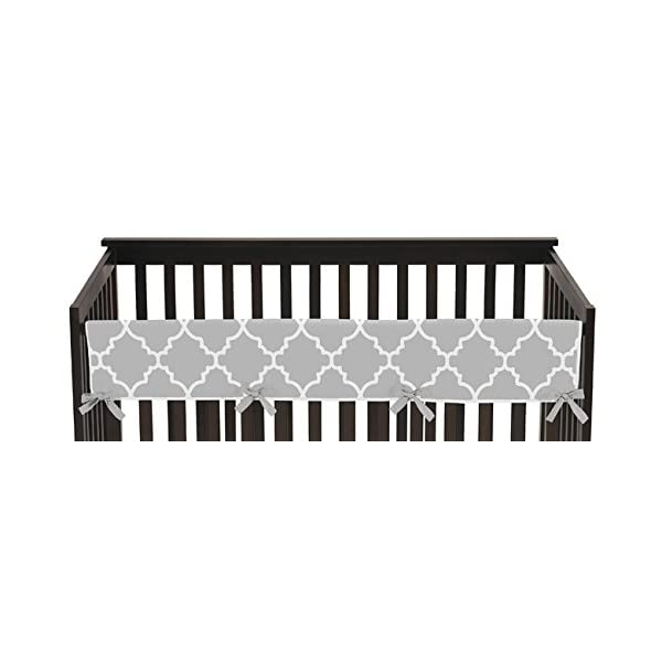 Sweet Jojo Designs Gray and White Trellis Lattice Long Front Rail Guard Baby Teething Cover Crib Protector Wrap