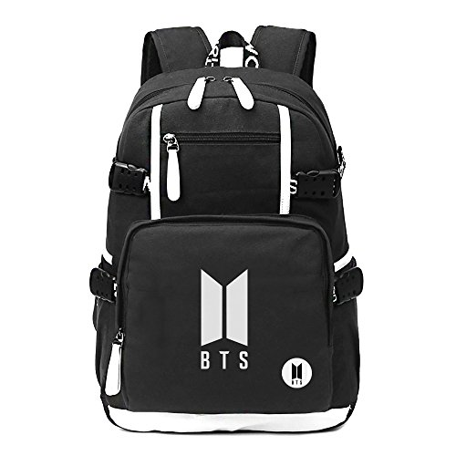 Fanstown Kpop Hiphop Backpack pin Botton Set Canvas Messenger Bag with lomo Cards