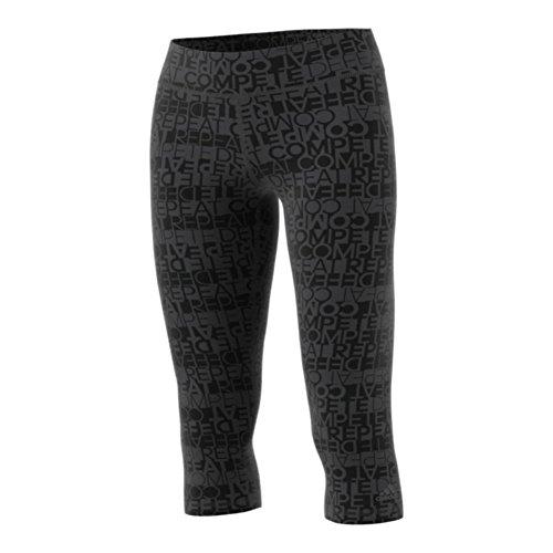 adidas Women's Training Performer Mid Rise 3/4 Tights, Small, Black/Rep Set Sweat Print