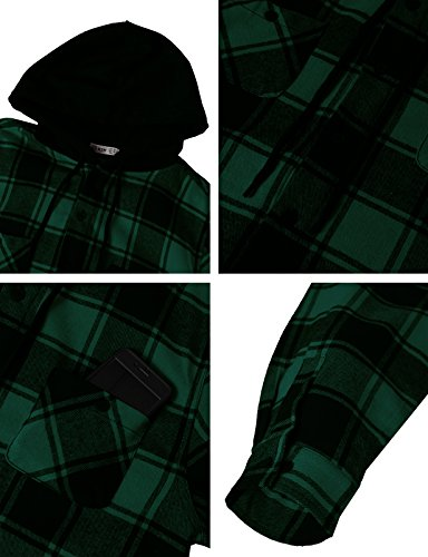 H2H Mens Casual Flannel Shirts Hoodie Jacket Green US XL/Asia 2XL (CMOJA0105) by H2H (Image #5)