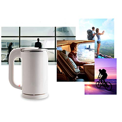 IronRen 0.5L Portable Electric Kettle, Mini Travel Kettle, Stainless Steel Water Kettle - Perfect For Traveling Cooking Noodles, Boiling Water, Eggs, Coffee, Tea(White 110V)