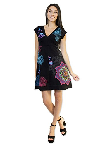 Coton Du Monde-vestido EVA, color negro Multicolor