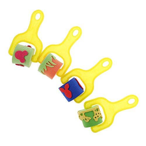 Jili Online 4Pcs Painting Sponge Brushes Seals with Yellow Plastic Handle Kids Painting Graffiti Drawing Toys