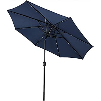 Awesome Sunnydaze Solar Powered LED Lighted Patio Umbrella With Tilt U0026 Crank, 9  Foot, Navy Blue