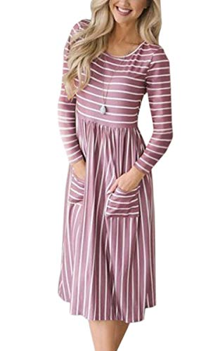 ECOWISH Summer 086 Dresses Floral with Vintage Womens Midi Purple Elastic Retro Sleeve Pockets Short Waist Dress rErqfxw6