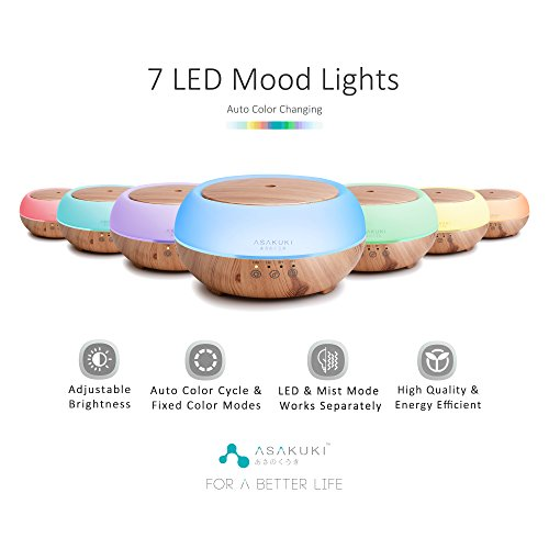 ASAKUKI Premium Touch Sensitive, Essential Oil Diffuser, 300ML-5 In 1 Ultrasonic Aromatherapy Fragrant Oil Vaporizer, Humidifies The Air, Auto-Off Safety Switch, 7 LED Light Colors
