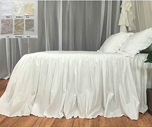 (Bedspread, ruffled bed cover custom made from long staple pima cotton - White, Off White, Ivory, Silver, Lilac, Champagne)