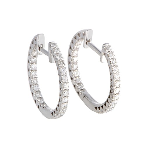 14K White Gold Diamond Hoop Earrings - White 14k Diamond Gold Hoop