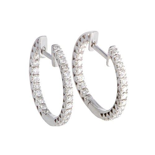 14K White Gold Diamond Hoop Earrings - White Hoop Diamond 14k Gold