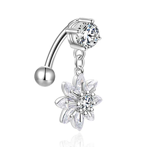 Candyfancy Reverse Belly Button Rings Dangle Flower CZ 14G Navel Ring Surgical Steel Naval Piercing Jewelry - Flower Ring Belly Dangle