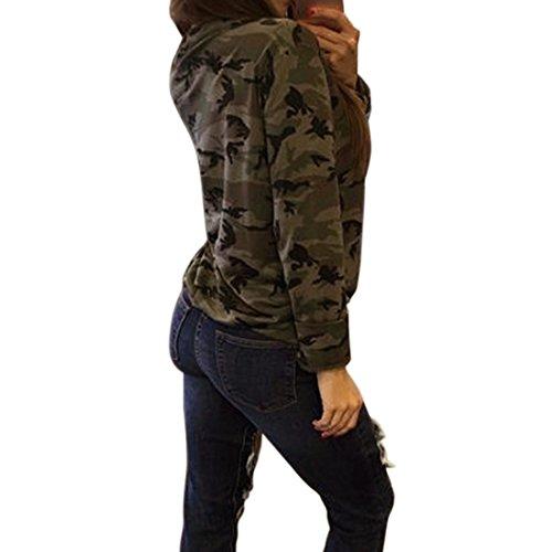 Ai.Moichien Ejército Verde Camo Digital Lace Up V cuello Mujeres Deportes Gimnasio de algodón de manga larga Party Tops Tee Shirt Verde