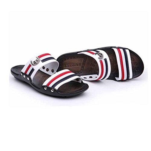 Juleya Mens Leather Flip-Flop Sandals Hollow Out Beach Home Summer Holiday Casual Flat Flip-Flops Outdoor Slip-On Slipper Shoes for Men White hqDdM