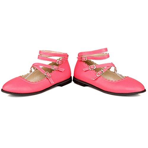 COOLCEPT Dulce Bombas Zapatos Correa de Tobillo Plano Bombas Zapatos Chicas Boca Baja Zapatos Rojo
