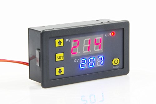 Relay Switch, Digital Time Delay Relay Board with Dual-color (Red+Blue) LED Display, On-Off Delay Timer Switch Support Cycle of Time for Car Vehicle (DC 24V, Red+Blue) ()