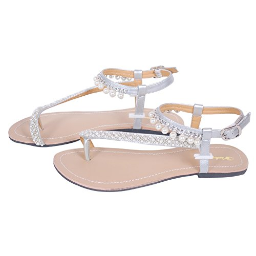 Women`s summer pearl sandals women lady flats shoes flip flops casual beach sandals Silver Uh76at
