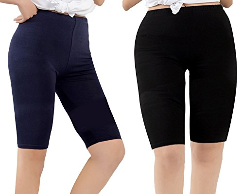 Century Star Women Plus Size Basic Ultra Soft Smooth Waist Over The Knee Sport Leggings 2 Pairs Black and Navy Blue 2X Plus-US 4X Plus