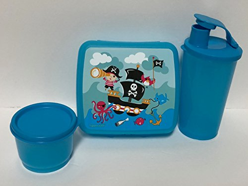 Tupperware Playful Pirate 3pc Lunch Set Sandwich Keeper Tumbler Snack Cup …
