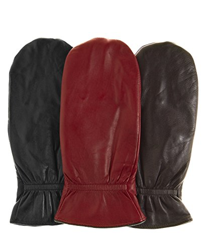 Pratt and Hart Women's Winter Leather Mittens with Finger Liners Size M Color - Leather Mitten Womens