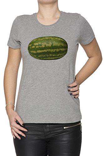 Pastèque Gris Coton Femme T-shirt Col Ras Du Cou Manches Courtes Grey Women's T-shirt