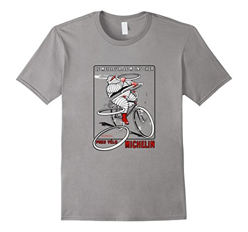 Men's Vintage French Cycling Tire Ad | Bicycle Cyclist Art Shirt Medium Slate