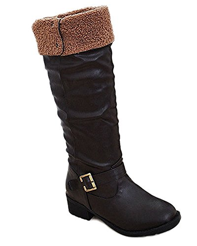 Maybest Ladies Womens Flat Biker Fold Over School College Vintage High Boots Shoes Black CYHhqjj5