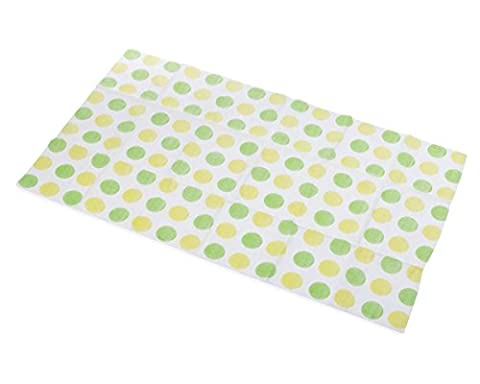 Little Things 25 LARGE Disposable Baby Diaper Changing Pads, 100% Leak-Proof Sanitary Travel Changing Table Mats for Babies, 26.75x18 in (Green/Yellow Dot - Travel Pad
