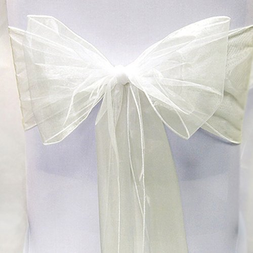 Dreampartycreation WIDER Shimmer Organza CHAIR BOW Sash 9