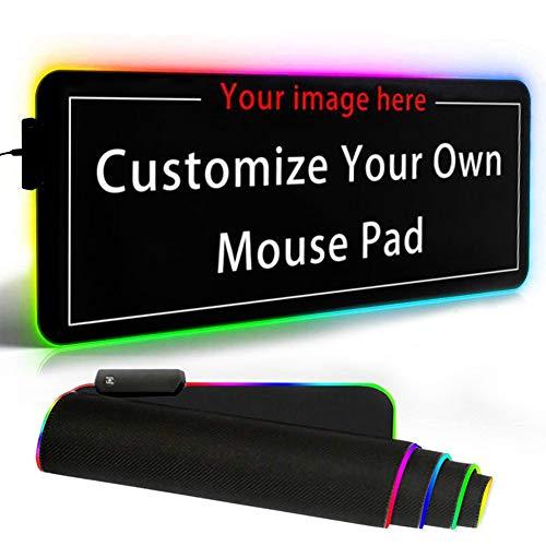 Naisde Alfombrilla de Raton Gaming RGB 800 x 300 x4 0 mm, LED Teclado extendido Extra Grande,Alfombrilla de raton para Juegos RGB con 12 Modos de iluminacion(Soporte de personalizacion)
