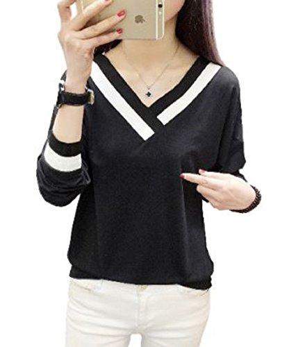 キャンプいいね壊す[1/2style(ニブンノイチスタイル)] 長袖 vネック ホワイト ブラック カットソー tシャツ レディース