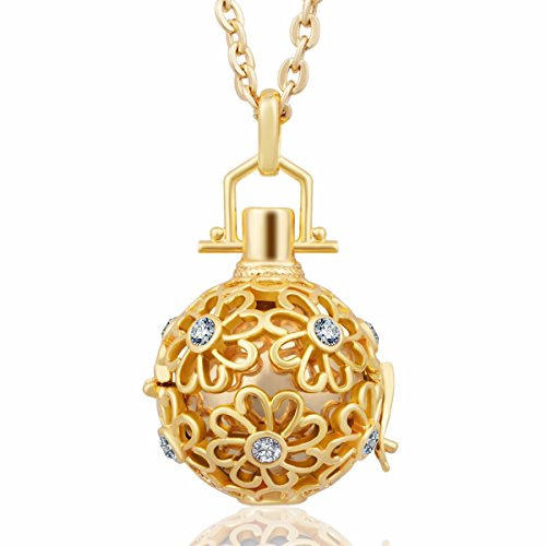 (Eudora Harmony Bola CZ Daisy Flower Angel Chime Caller 16mm Pendant Chime Prayer Bell, 30'' Necklace Gold)