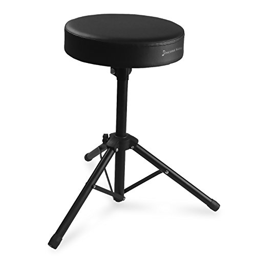 Encore Basics Drum Throne - Black Steel w/ Thick Cushioned Seat, Anti-Slip Feet for Adults & Kids - 20 Inch