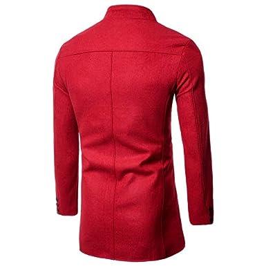 Zip Hoodie Men Sherpa.Fashion Mens Autumn Winter Long Sleeve Solid Stand Button Woolen Coat Top