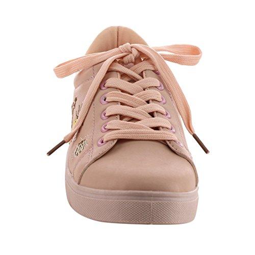 Betani Ei33 Dames Lace Up Gestikte Insecten Lage Top Gevoerde Hielkraag Sneakers Roze