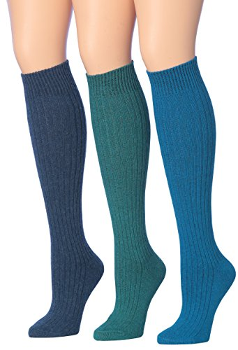 Tipi Toe Women's 3-Pairs Ribbed Cable Knee High Wool-Blend Boot Socks, (sock size 9-11) Fits shoe size 6-9, (Heavy Wool Blend)