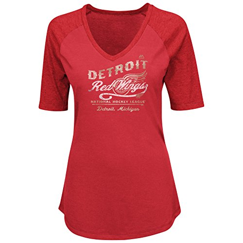 NHL Detroit Red Wings Adult Women NHL Plus Short Sleeve vneck Heather Tee with Screen,2X,Red/Hthr Red Nhl Shirt