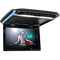 12.1 inch Flip Down Monitor 1080P HD TFT LCD Overhead Car TV Screens Ultra Thin Roof Mount Monitor HDMI SD MP3 MP4 Player with LED Back-lit Button and Ambient Light (CL1201HD-Black)