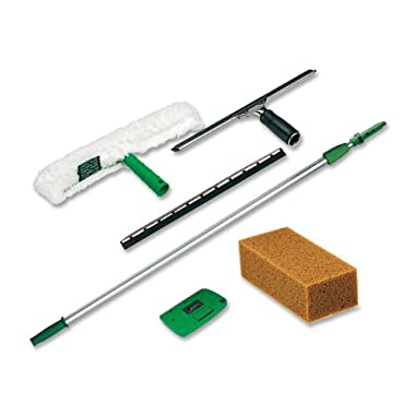 Unger Pro Window Cleaning Kit with 8 Foot Pole, Scrubber, Squeegee, Scraper, Sponge (PWK00)