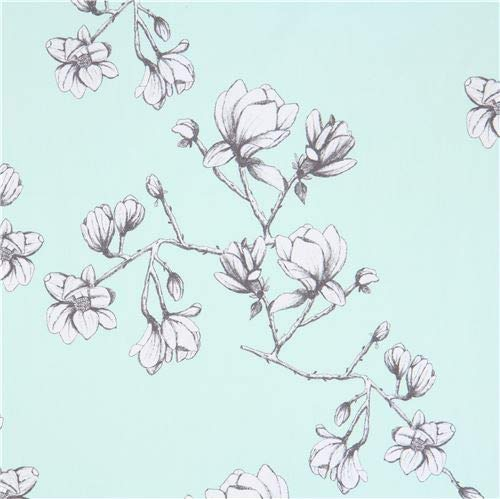 mint green canvas fabric with flowers (per 0.5 yard unit)