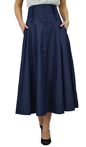 long ligne haute boho mi des mollet rtro Bleu une jupe vas Bimba taille jupes de 0SwOqxRv
