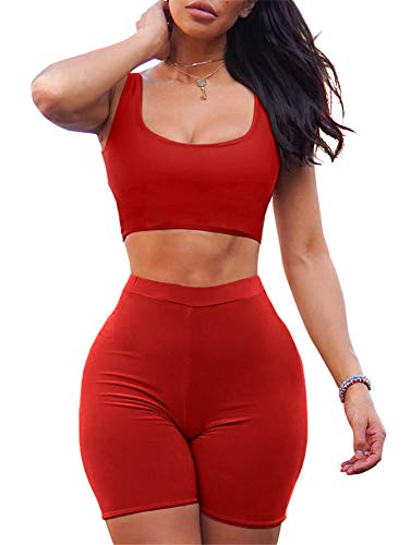 - GOBLES Women's Sexy Bodycon Tank Crop Top Shorts Sets Club 2 Piece Outfits Red